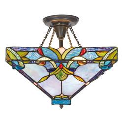Casa Padrino Tiffany Deckenleuchte / Deckenlampe Bunt Ø 36 x H. 40 cm - Handgefertigte Tiffany Lampe