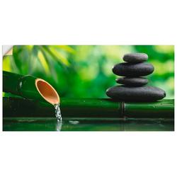 Artland Wandbild Bambusbrunnen und Zen-Stein, Zen (1 Stück) 40 cm x 20 cm