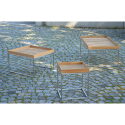 Jan Kurtz Pizzo Teak 40 x 40 cm - Beistelltisch Edelstahl