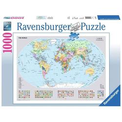 Ravensburger Puzzle 15652 Politische Weltkarte 1000 Teile Puzzle, Puzzleteile bunt
