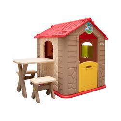 LittleTom Spielzelt Kinder Spielhaus ab 1 Garten Kinderhaus mit Tisch Indoor Kinderspielhaus