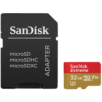 SanDisk microSDHC Extreme 32GB Class 10 90MB/s UHS-I U3 V30 + SD-Adapter