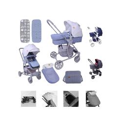 Lorelli Kombi-Kinderwagen Kombikinderwagen Aster 2 in 1, Schwenkräder, Fußsack, Tasche, Sonnendach grau