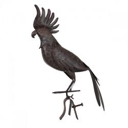 Dachrinnen- und Zaunfigur Kakadu, Metall, Rost-Optik