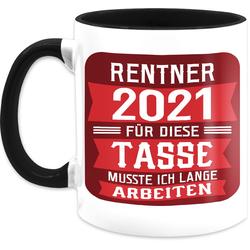 Shirtracer Tasse Rentner 2021 - rot - Rentner Geschenk Tasse - Tasse zweifarbig, Keramik