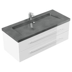 Emotion Waschtisch Badmöbel Granit G654 Damo 130 cm 1 Hahnloch weiß hochglanz
