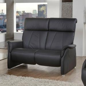 Sofa 2-Sitzer Relaxsofa Polstersofa Couch Adair in Echtleder schwarz 144 cm
