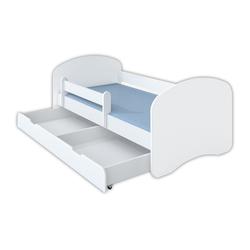 Clamaro Kinderbett (Kinderbett Schlummerland mit Bettkasten in 70x140 mit Rausfallschutz Set mit Matratze und Lattenrost)