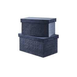 Aufbewahrungsbox, 2er Set ¦ blau ¦ Samt, Karton ¦ Maße (cm): B: 31 H: 16 T: 20