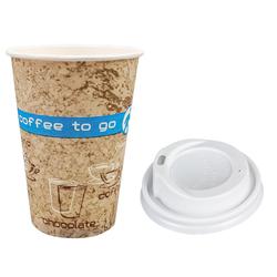 Kaffeebecher Coffee ToGo DREAMS mit Deckel weiß 300 ml hoch + schmal  50 Stk.