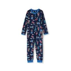 Gemusterter Schlaf-Jumpsuit aus Fleece, Kids, Größe: 128/134 Kind, Blau, by Lands' End, Tiefsee Marine Bulldoggen - 128/134 - Tiefsee Marine Bulldoggen