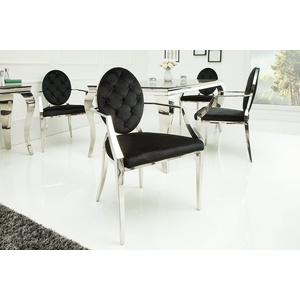 riess-ambiente Esszimmerstuhl MODERN BAROCK schwarz / silber, mit Armlehne schwarz