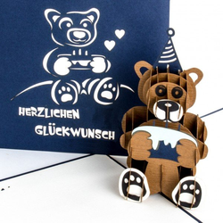 Colognecards Pop-Up Karte Teddybär mit Torte blau