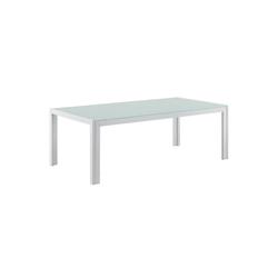 casa.pro Gartenmöbelset, Lerum Gartentisch Glastisch 100x50x35 cm weiß weiß