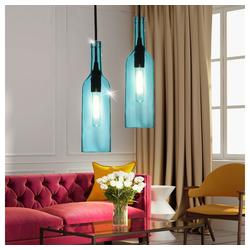 etc-shop Pendelleuchte, 2er Set Design Flaschen Hänge Leuchten Wohn Ess Zimmer Decken Beleuchtung Glas Pendel Lampen blau