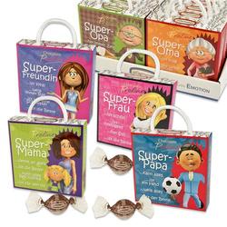 Günthart Pralinen Box Super Family mit Spruch weiße Schokolade 45g