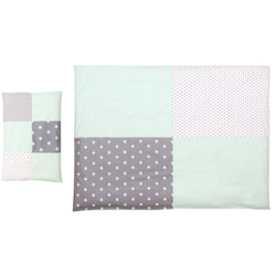 Ullenboom Kinder Bettwäsche-Set Mint Grau 135 x 100 cm + 40 x 60 cm