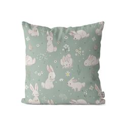 Kissenbezug, VOID (1 Stück), Hasenbabys Kissenbezug Kinderzimmer Babyzimmer Kinder Baby Hasen Tiere Wiese 40 cm x 40 cm
