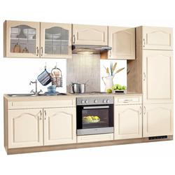 wiho Küchen Küchenzeile Linz, mit E-Geräten, Breite 270 cm, mit Edelstahl-Kochmulde natur