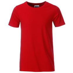 T-Shirt für Jungen | James & Nicholson red 134/140 (L)