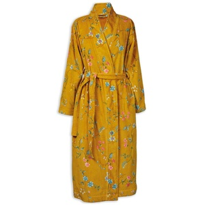 Pip Studio Les Fleurs Bademantel Farbe Gelb Größe S Morgenmantel Kimono Damen-Bademantel