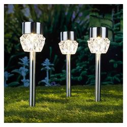 HI Gartenleuchte HI Solar LED Garten-Wegeleuchten 3 Stk. Kristall