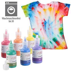6er-Set Textilfarben in Gelb, Orange, Rot, Lila, Blau, Grün, je 30 ml