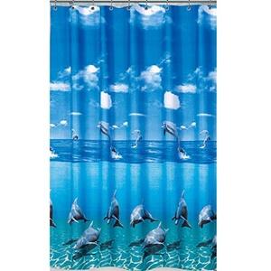 "EDLER Textil Duschvorhang 240 x 200 cm Delfin ""Delphin im Meer"" Blau Weiss inkl. Ringe"