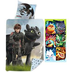 Kinderbettwäsche Dragons - Bettwäsche-Set, 135x200 und Badetuch, 70x140 cm, Dragons, 100% Baumwolle