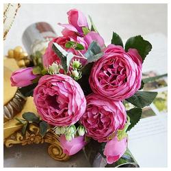 Kunstblume 5 Kopf künstlich Blume, Gotui, Künstliche Rose,Hortensien-Blumenstrauß für Haupthochzeitsdekor