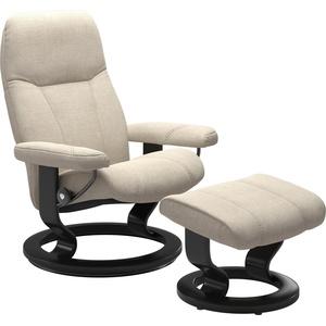 Stressless® Relaxsessel Consul (Set, Relaxsessel mit Hocker), mit Hocker, mit Classic Base, Größe S, Gestell Schwarz beige