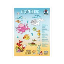 URSUS Malvorlage Ausmalbilder Unterwasserwelt 8 Blatt, 24,8x33 cm