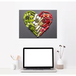 Posterlounge Wandbild, Nudeln Herz mit Italien Flagge 80 cm x 60 cm