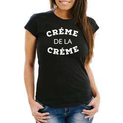MoonWorks Print-Shirt Damen T-Shirt Creme de la Creme Slim Fit Moonworks® mit Print XL
