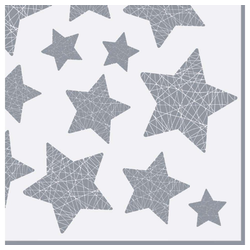 Linoows Papierserviette 20 Servietten Weihnachten silberne Sterne auf Weiß, Motiv Weihnachten silberne Sterne auf Weiß