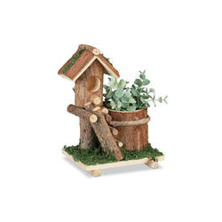 relaxdays Blumentopf Holz Blumentopf mit Vogelhaus