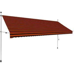 UnfadeMemory Einziehbare Markise Handbetrieben Außenmarkise Terrassenmarkise Manuell Balkonmarkise Sonnenschutz Markise Außenbereich (400 cm Orange/Braun)