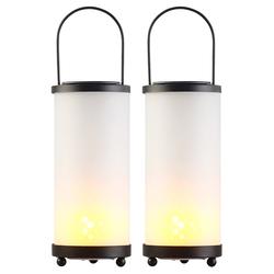 2er-Set Solar-LED-Laternen Glas/Metall mit Fackel-Effekt, 96 LEDs
