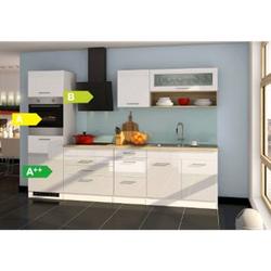Held Möbel Küchenzeile Seattle 290 cm Hochglanz Weiß