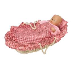Goki 15252 - Puppentragekorb mit Bettzeug rosa