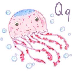 Wandtattoo Qualle Unterwasserwelt Q (1 Stück) 60 cm x 55 cm x 0,1 cm
