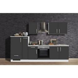 Menke Küchen Küchenzeile White Premium 300 cm, Schiefer grau