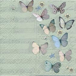 """Papierservietten """"Schmetterlinge mit Notenzeilen"""", 33 x 33 cm, 20 Stück"""