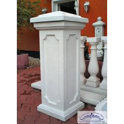 BAD-8506 Zaunpfeiler aus Beton für Torpfeiler Pfeiler mit Abdeckplatte als Tor und Zaunsäule 111cm