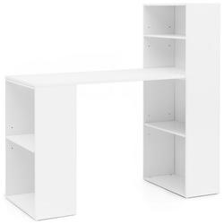 FINEBUY Schreibtisch SuVa13498_1, Schreibtisch mit Regal 120x120x53 cm Holz Modern Schreibtischregal Ablagefächer PC Tisch Computertisch mit Ablage Weißer Design Tisch Büro mit Aufbewahrung weiß