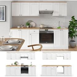 VICCO Küchenzeile Cambridge 240cm Landhaus Stil Einbauküche Komplettküche Küche weiß