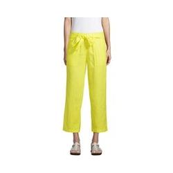 7/8-Leinenhose mit weitem Bein, Damen, Größe: L Normal, Gelb, by Lands' End, Gelb Zitrone - L - Gelb Zitrone