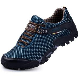 CAGAYA Damen Herren Wanderschuhe Barfußschuhe Trekkingschuhe Sommer Outdoor Fitnessschuhe Wasserschuhe Sneaker 39-45 (43, Blau-R)