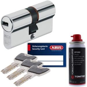 ToniTec Set aus ABUS Sicherheitsschloss Schließzylinder Profilzylinder XP20 XP20S mit Sicherungskarte 40/45 und ToniTec Pflegespray
