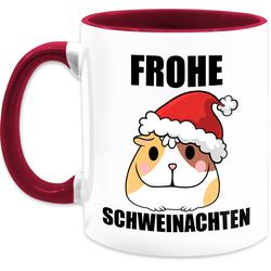 Shirtracer Tasse Frohe Schweinachten mit Meerschweinchen - Tasse mit Spruch - Tasse zweifarbig, Keramik